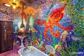 卫生间创意玻璃马赛克背景墙效果图
