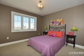 卧室紫色双人床图片