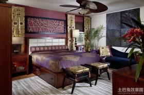 古典卧室紫色双人床图片
