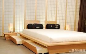 日式简约卧室榻榻米床装修效果图