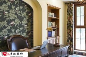 家庭书房壁纸背景墙装修效果图片