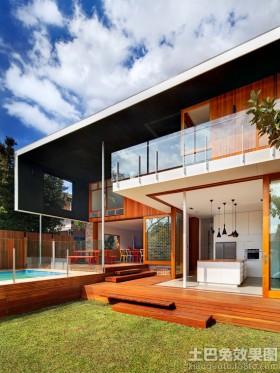 现代二层木别墅图片大全