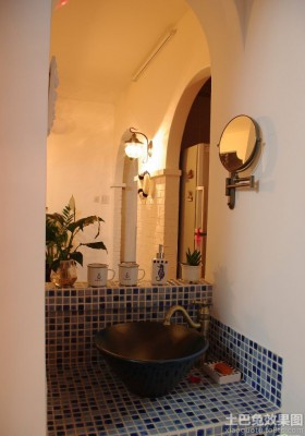 地中海风格卫生间洗脸盆效果图