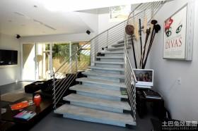 现代别墅不锈钢楼梯扶手图片