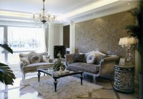新古典风格客厅沙发背景墙绘效果图