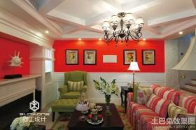 混搭风格别墅客厅墙上装饰效果图
