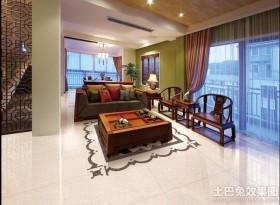 中式风格客厅地板砖效果图