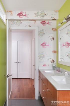 卫生间金鱼墙纸效果图