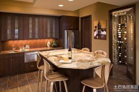 美式风格厨房吧台大理石台面图片