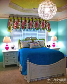 蓝色卧室欧式风格女孩的房间设计图