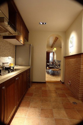 田园风格厨房地砖装修效果图