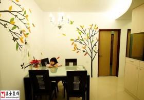 混搭家庭餐厅彩绘墙面装饰效果图片