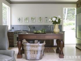 英式乡村风格实木厨房装修效果图
