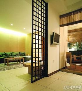 中式两室一厅家装屏风隔断效果图