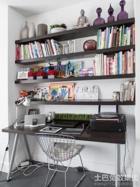 现代书房墙上书架效果图片