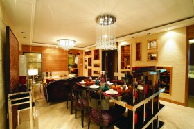 新古典小户型客厅连餐厅一体装修效果图