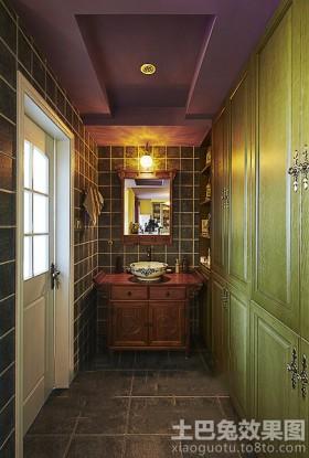 洗手间实木浴室柜效果图