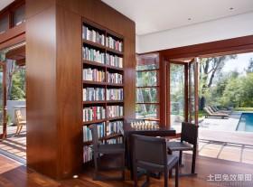 别墅书房檀木家具图片