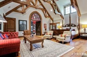 美式别墅室内檀木家具图片
