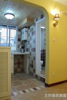 东南亚风格单身公寓半开放式小厨房装修效果图