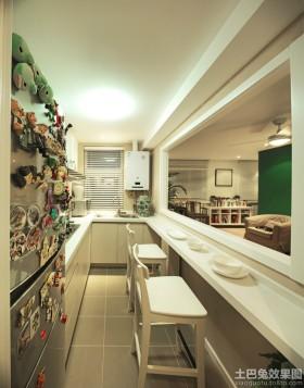 家庭整体狭长型厨房装修效果图片