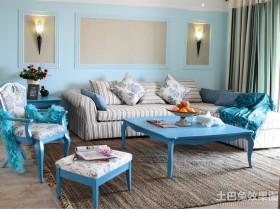 地中海客厅沙发摆放效果图
