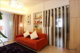 现代风格客厅线帘隔断装修效果图片