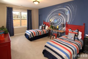 双人男孩房间墙面彩绘装饰效果图
