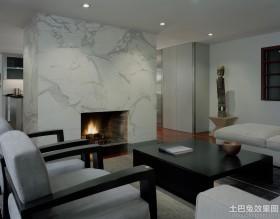 客厅真火壁炉设计效果图