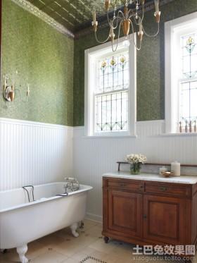 卫生间白色实木护墙板效果图