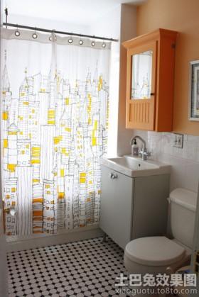 家庭卫生间浴帘装修效果图片