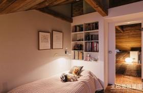 简约卧室入墙书柜效果图