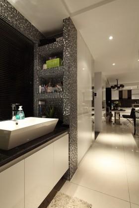 开放式洗手间马赛克墙砖效果图 卫生间洗手台-卫生间装修效果图大全