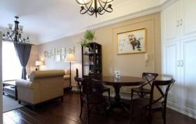 美式婚房客厅餐厅一体装修效果图片