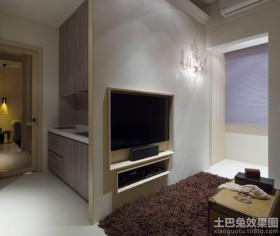 简约60平米二居嵌入式电视墙效果图