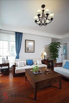 简中式两室两厅客厅装修效果图