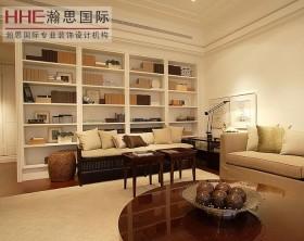 现代简约两居室客厅书架装修效果图