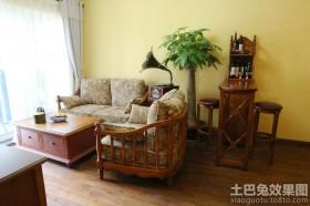 美式风格客厅发财树图片