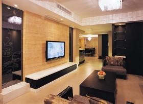 中式风格二居烤漆板电视背景墙效果图