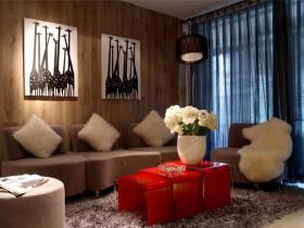 现代风格70平米两室一厅客厅装修效果图