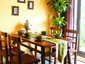 家装餐厅实木餐桌椅装修效果图