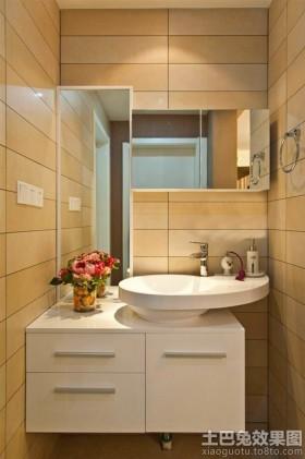 简约洗手间柜式洗手盆图片