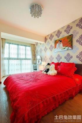 现代婚房卧室落地窗帘效果图