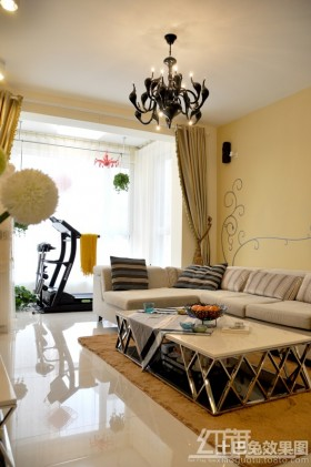 简约风格家装客厅吊灯装修效果图