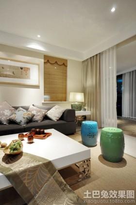 二居新中式客厅装修效果图图片