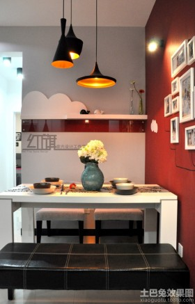 现代小户型餐厅背景墙装饰效果图