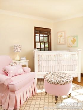 粉色系婴儿房间布置图片