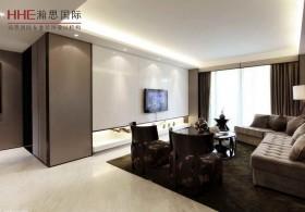 现代两室两厅客厅瓷砖电视墙效果图