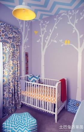 紫色婴儿房墙体彩绘效果图