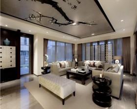 中式现代100平米两室两厅装修效果图欣赏